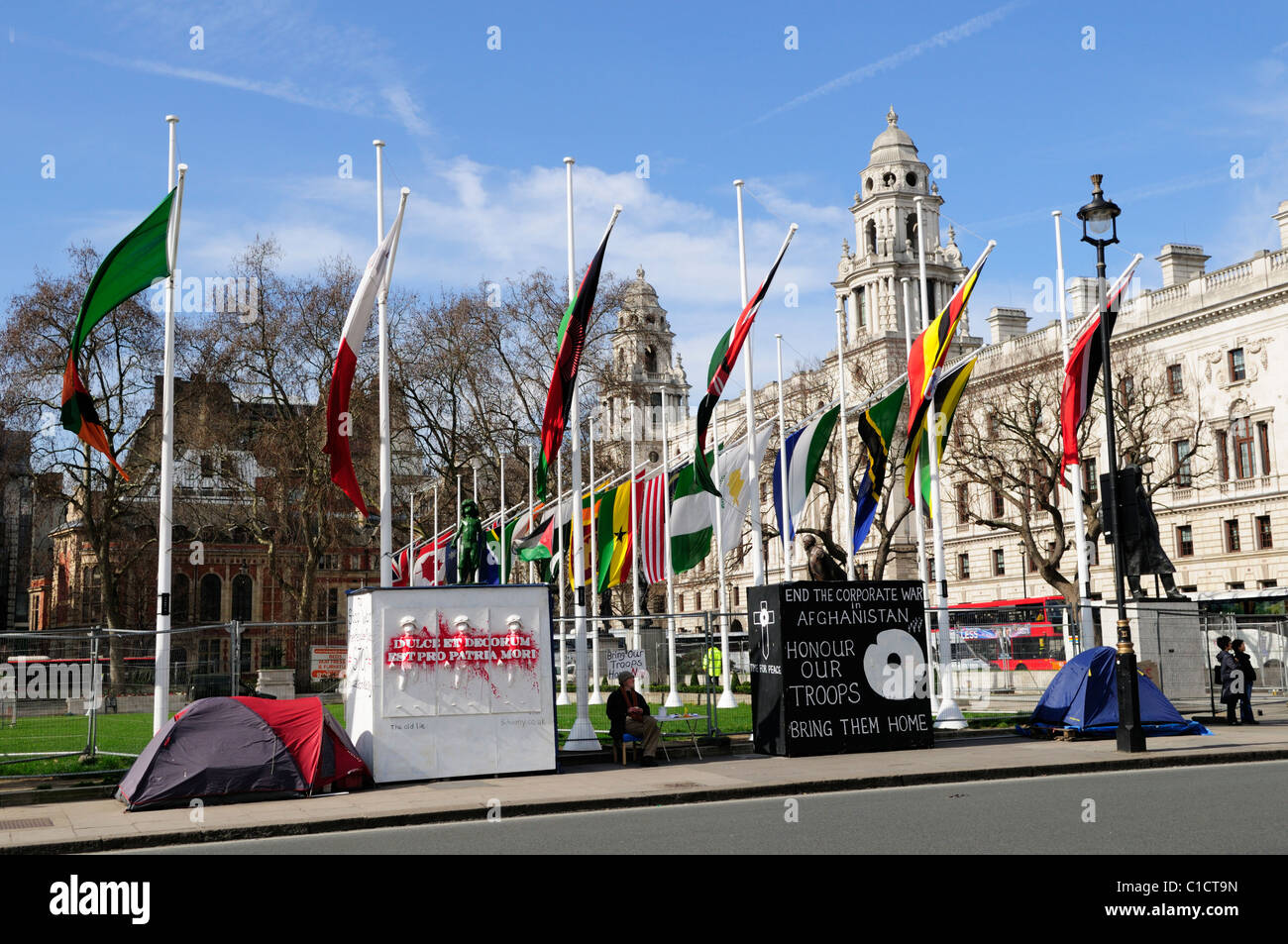 Parliament Square, with Anti War Protestors, Westminster, London, England, UK - Stock Image
