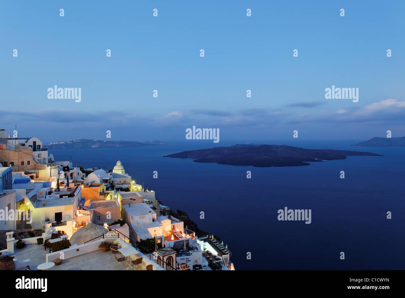 morning mood in Fira, Santorini, Cyclades, Greece - Stock Image
