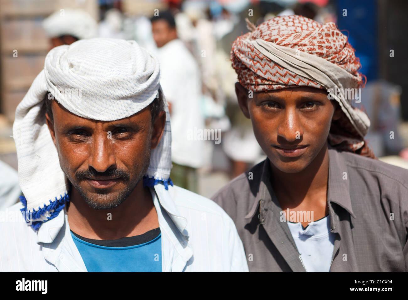 Two men at Bait Al Faqih Friday Market, Yemen - Stock Image