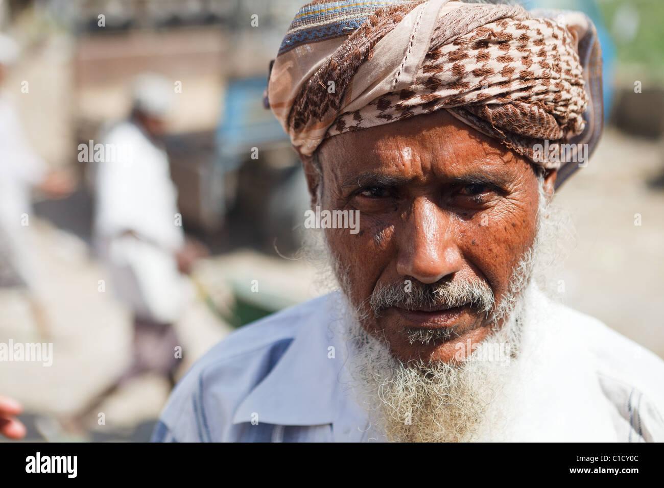 Seller at Bait Al Faqih Friday Market, Yemen - Stock Image
