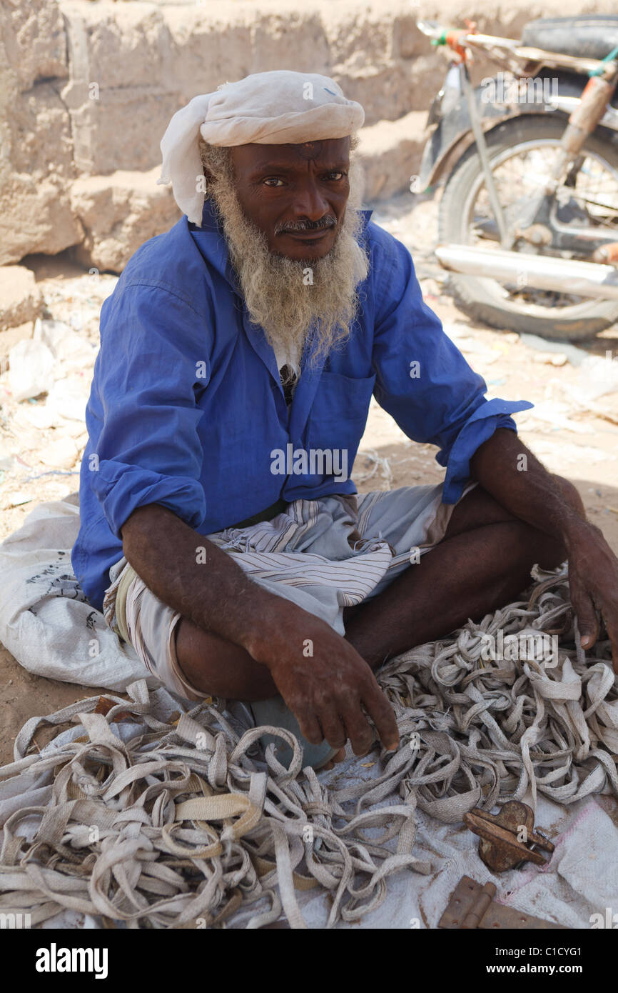 Seller at Bait Al Faqih Friday Market, Yemen - Stock Image