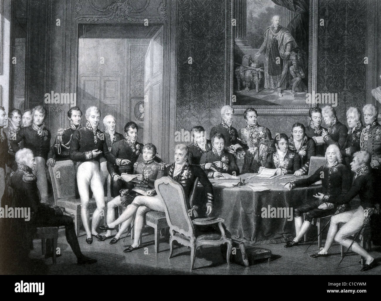 CONGRESS OF VIENNA 1814-1815 with Metternich standing at left in white trousers and Duke Of Wellington at far left - Stock Image