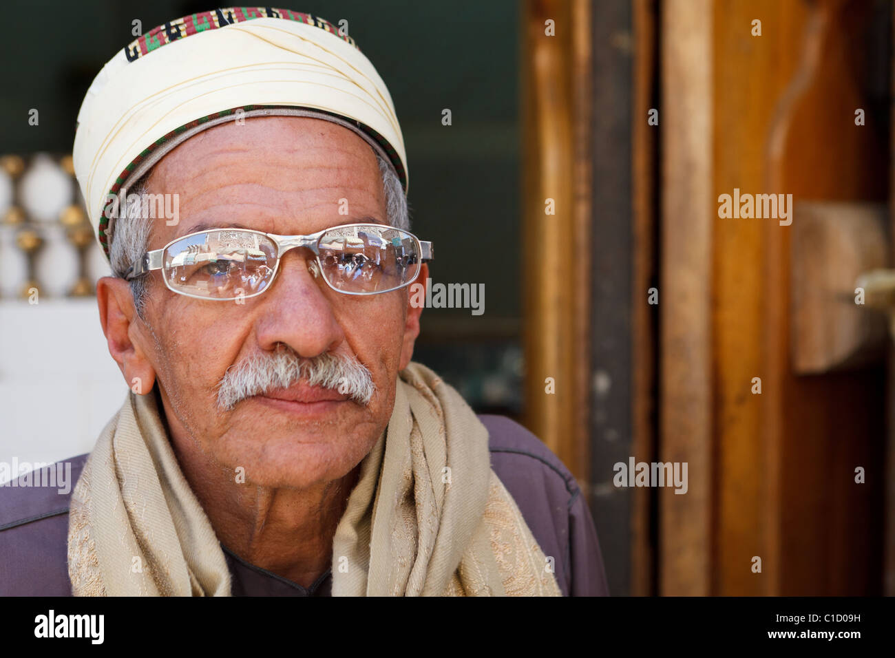 Imam of mosque in the Old City of Sana'a, Yemen Stock Photo