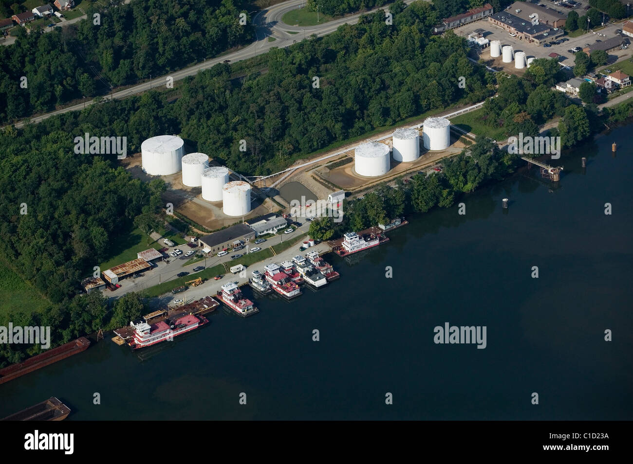 aerial view above Consol Energy tug boats docked Manongahela river Pennsylvania - Stock Image