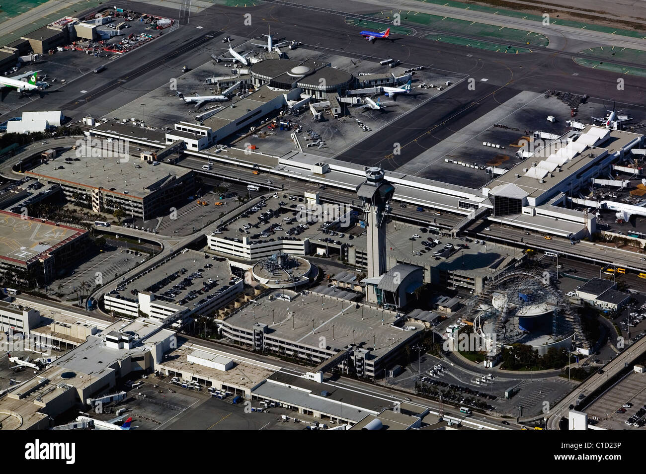 aerial view above FAA control tower Los Angeles International Airport LAX California - Stock Image