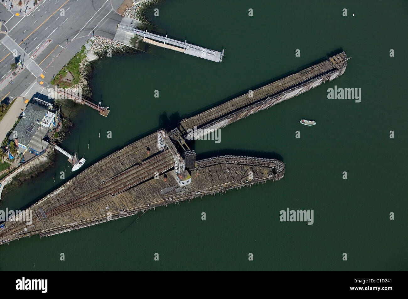aerial view above abandoned railroad pier Potrero Point San Francisco California - Stock Image