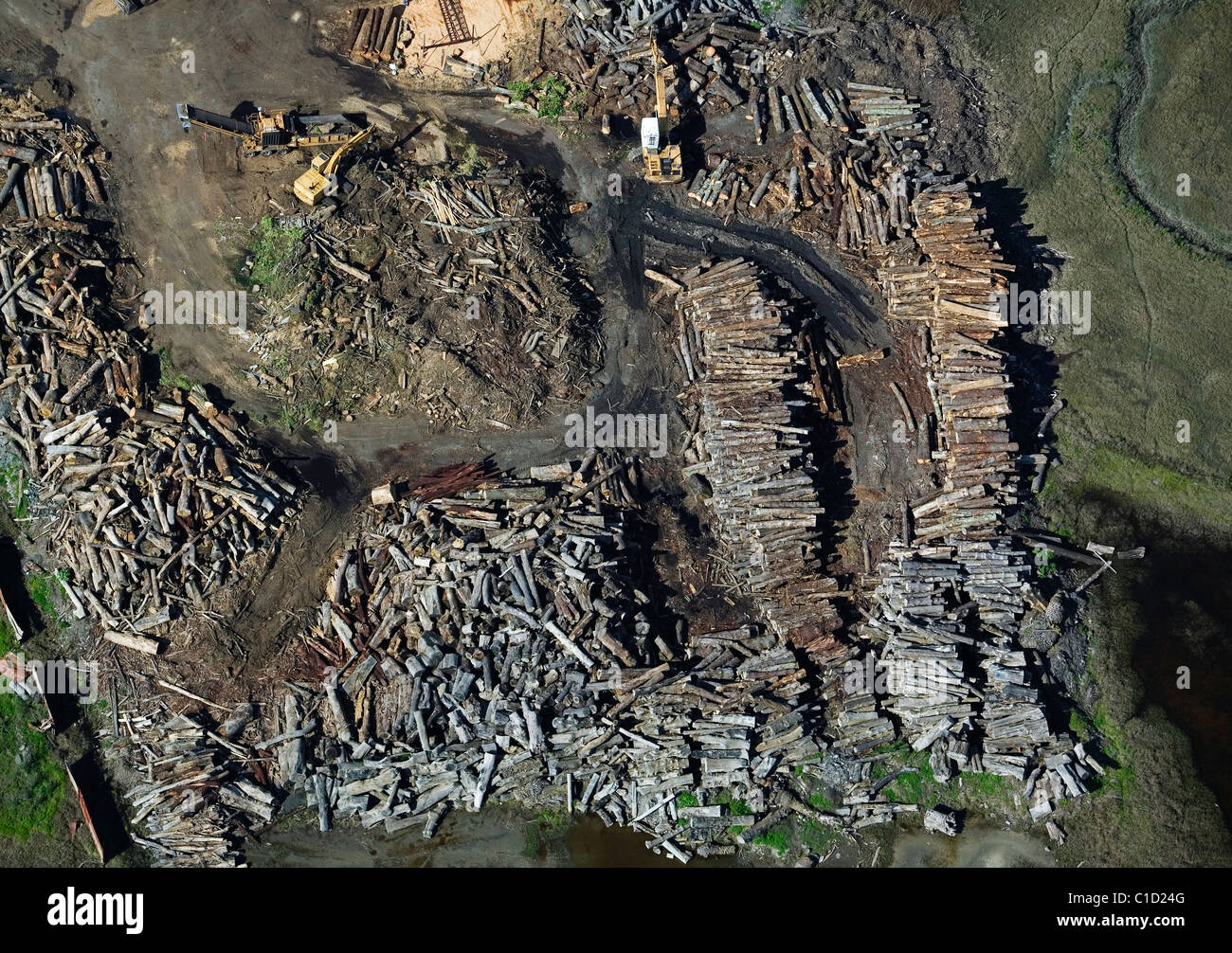 aerial view above processing logs lumber Richmond California - Stock Image