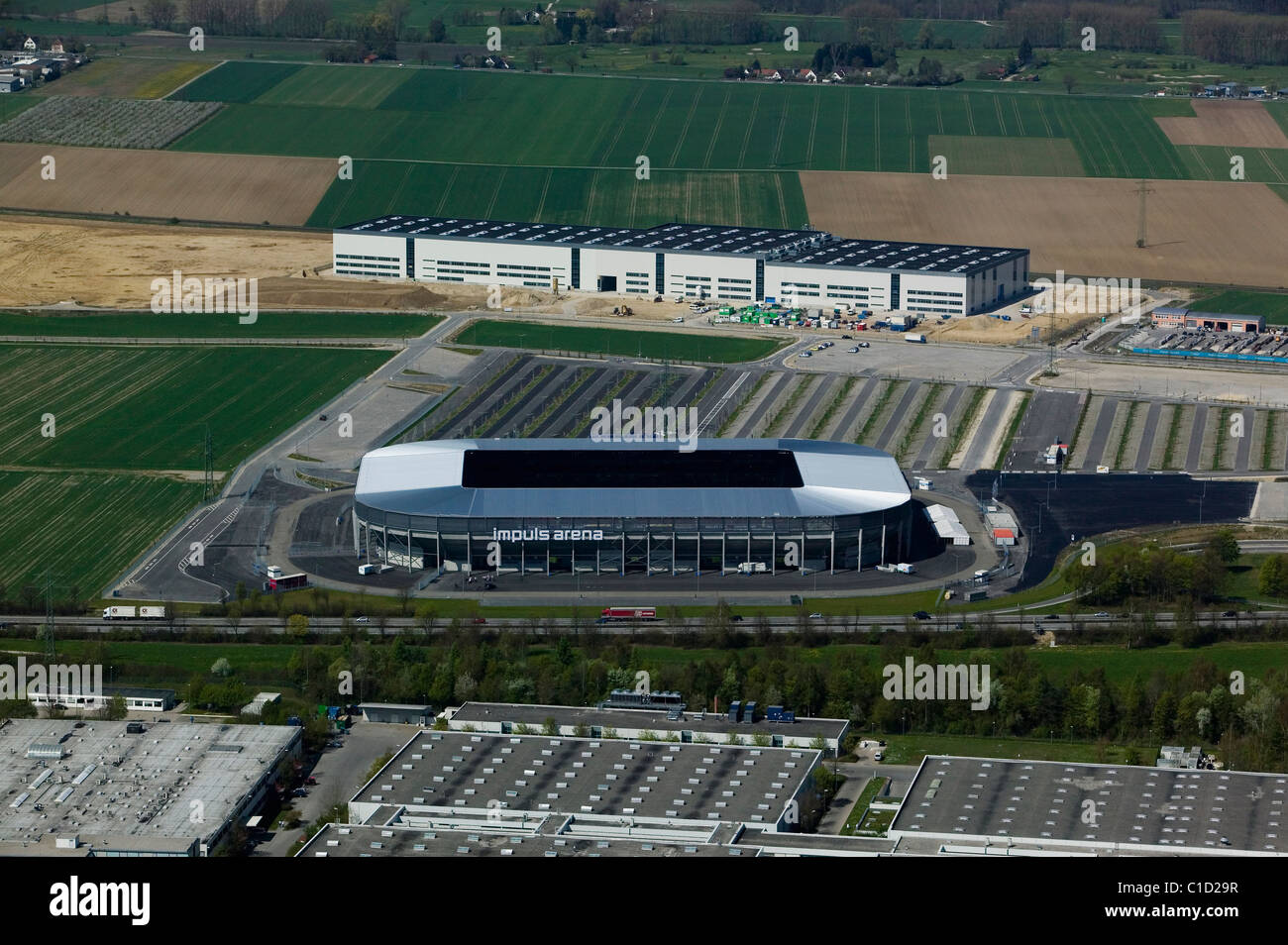 aerial view above Impuls Arena soccer football stadium Augsburg Bavaria Germany - Stock Image