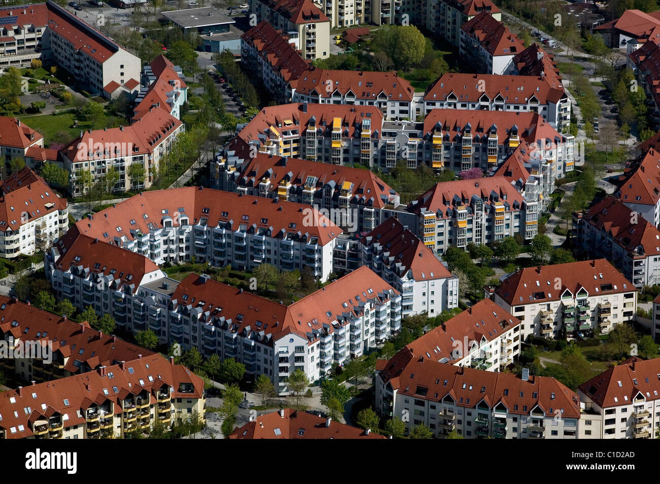 aerial view above apartment houses Augsburg Germany - Stock Image