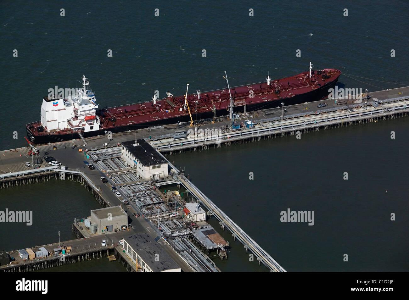 aerial view above Colorado Voyager Chevron petroleum tanker moored at Chevron Long Wharf Richmond California - Stock Image