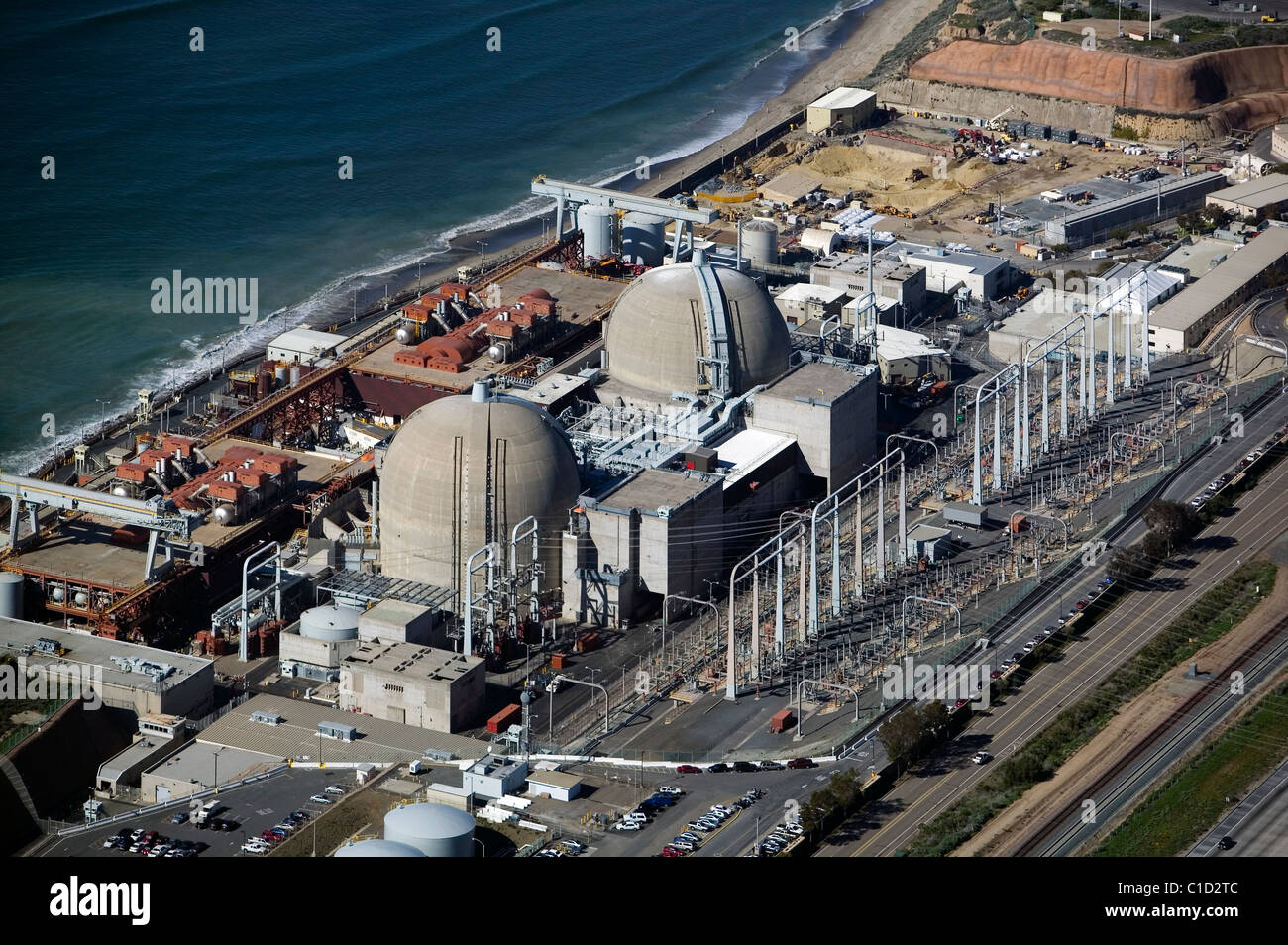 aerial view above San Onofre Nuclear Generating Station Pacific Coast California Stock Photo