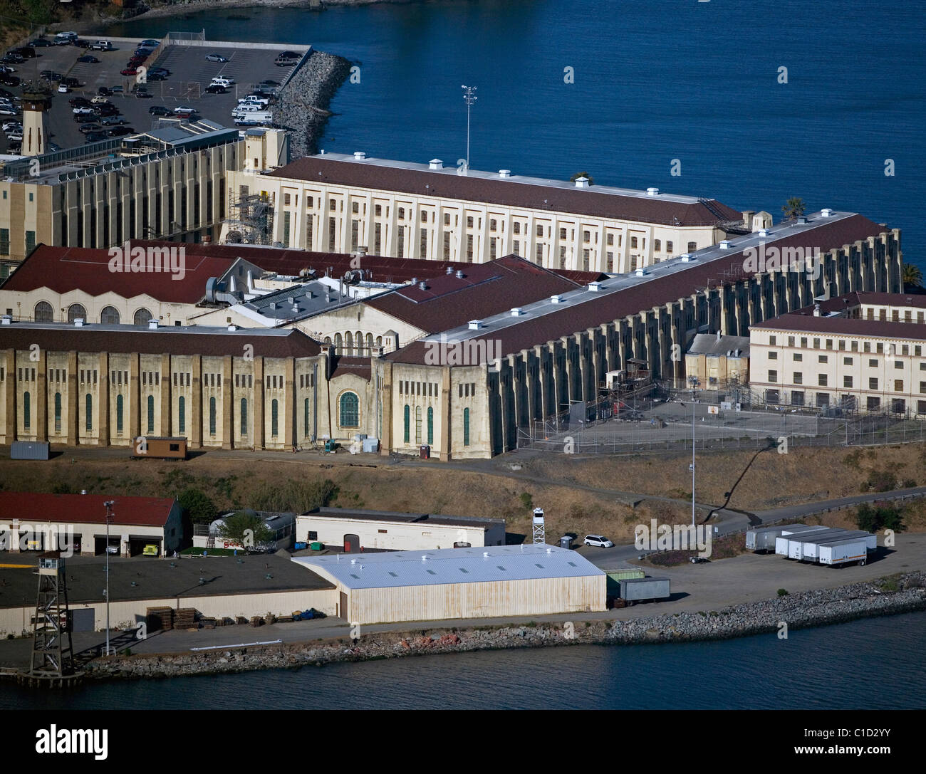 aerial view above San Quentin State prison Marin County California - Stock Image