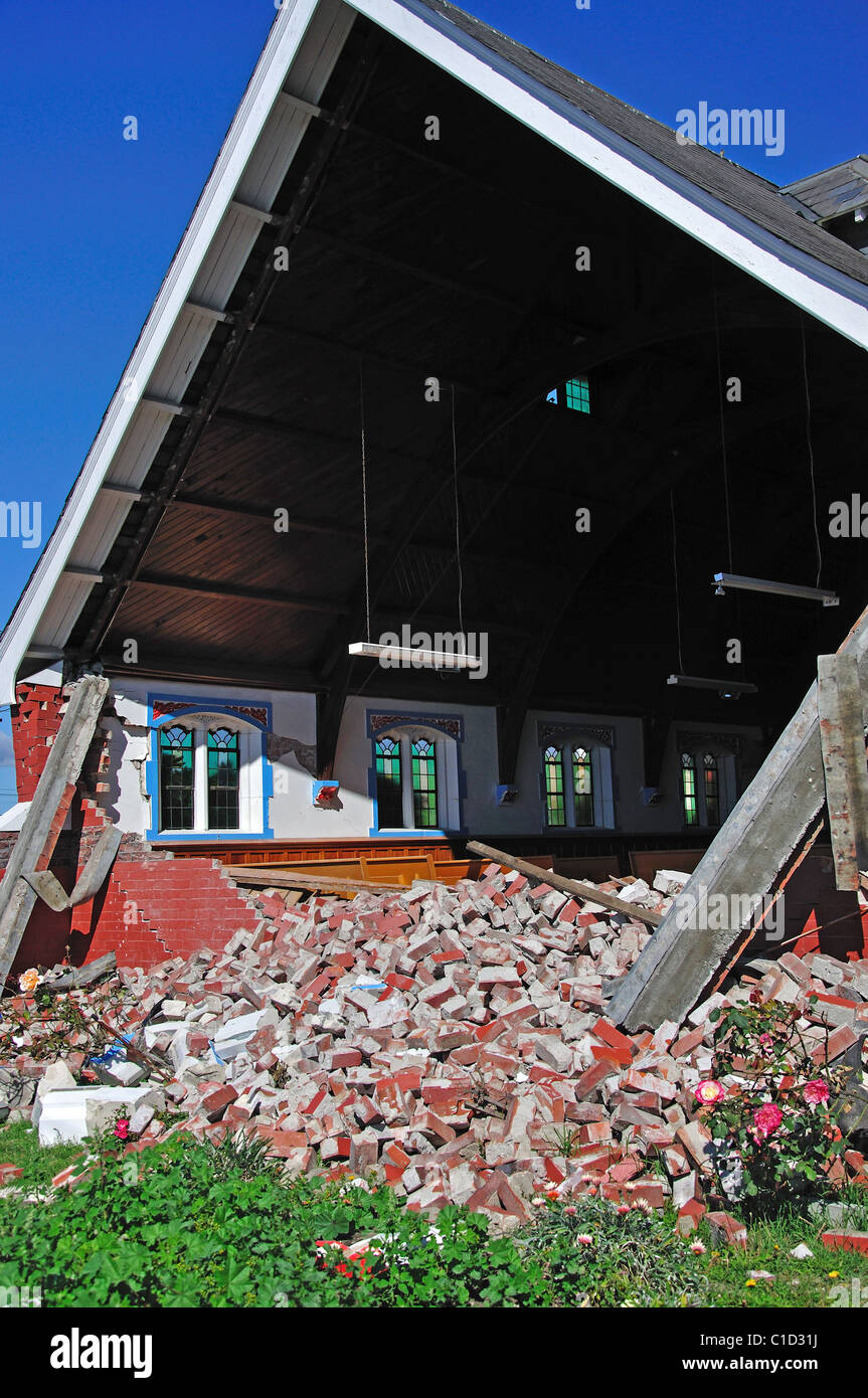 Church damaged from 22nd Feb. 2011 earthquake, Central Business District, Christchurch, Canterbury, South Island, - Stock Image