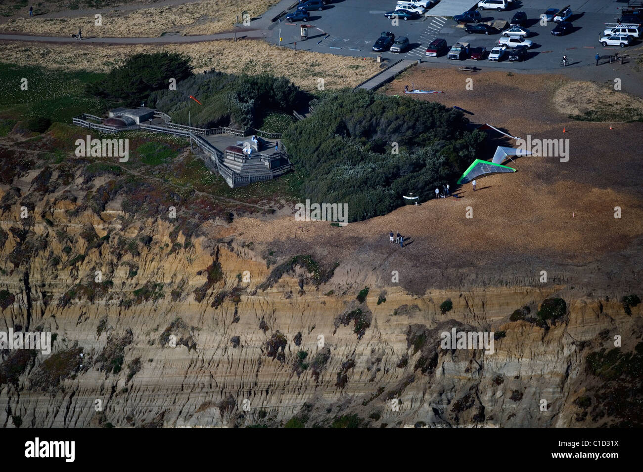 aerial view above hang gliding launch Fort Funston San Francisco California - Stock Image