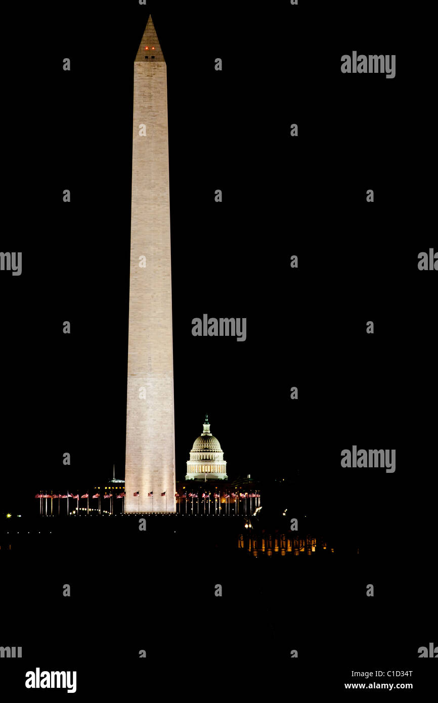 Washington Monument with U.S. Capitol Building in the background at the National Mall, Washington D.C. - Stock Image