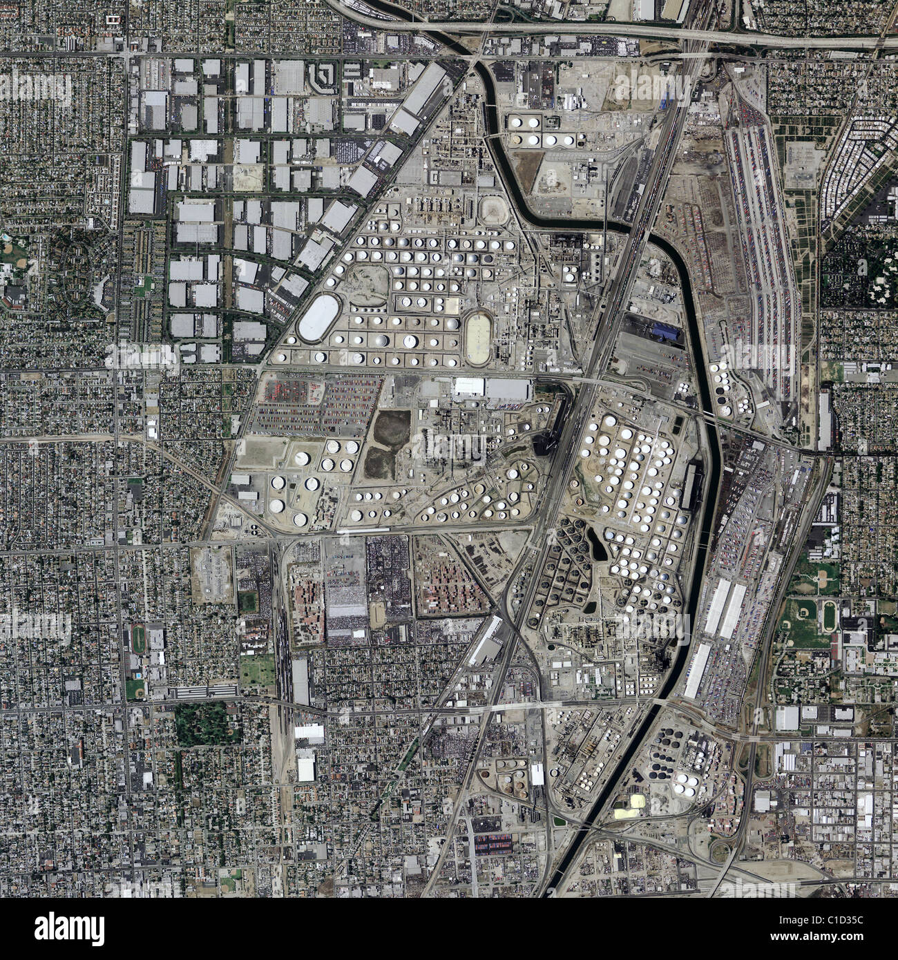 Refineries In California Map.Aerial Map View Above Bp Carson Refinery Near Port Of Los Angeles