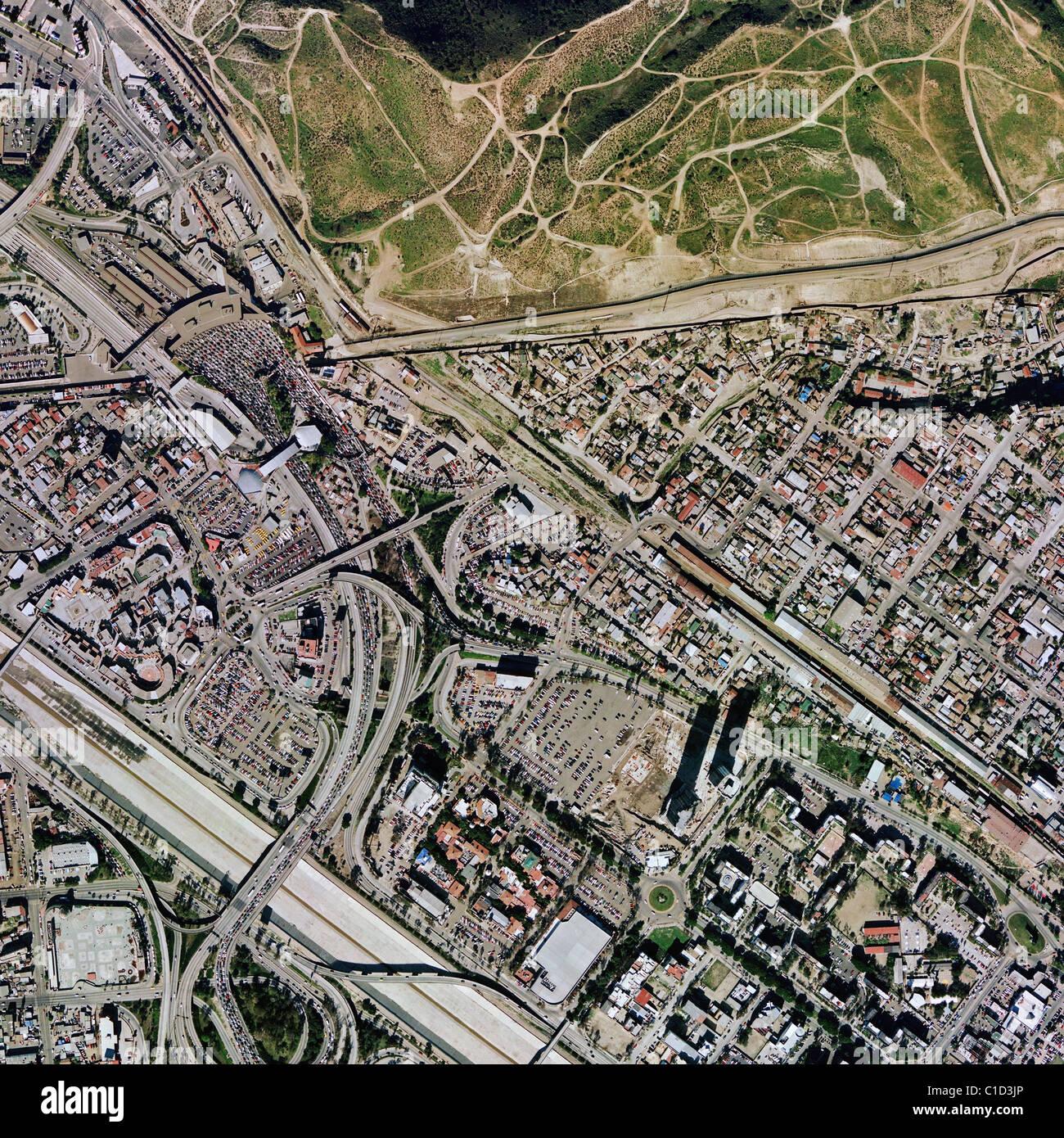 aerial map view above Tijuana Mexico at San Ysidro Mexican American