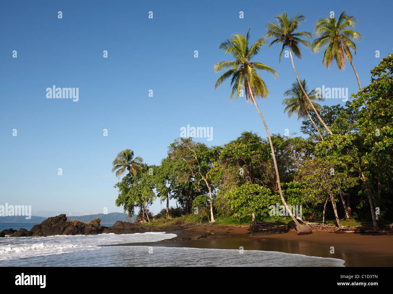 An isolated tropical beach near Drake Bay along the trail to Corcovado National Park on the Osa Peninsula, Costa - Stock Image