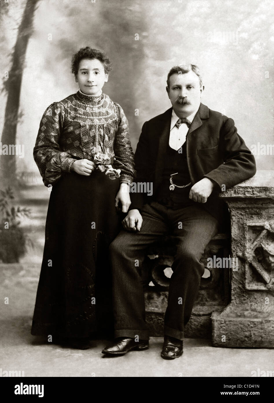 Old Portrait Photograph Of Husband And Wife In The 1900's After Restoration - Stock Image