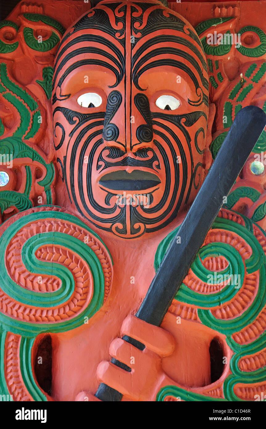 Maori carvings, Hobson's Beach, Waitangi Treaty Grounds, Waitangi, Bay of Islands, Northland Region, North Island, - Stock Image