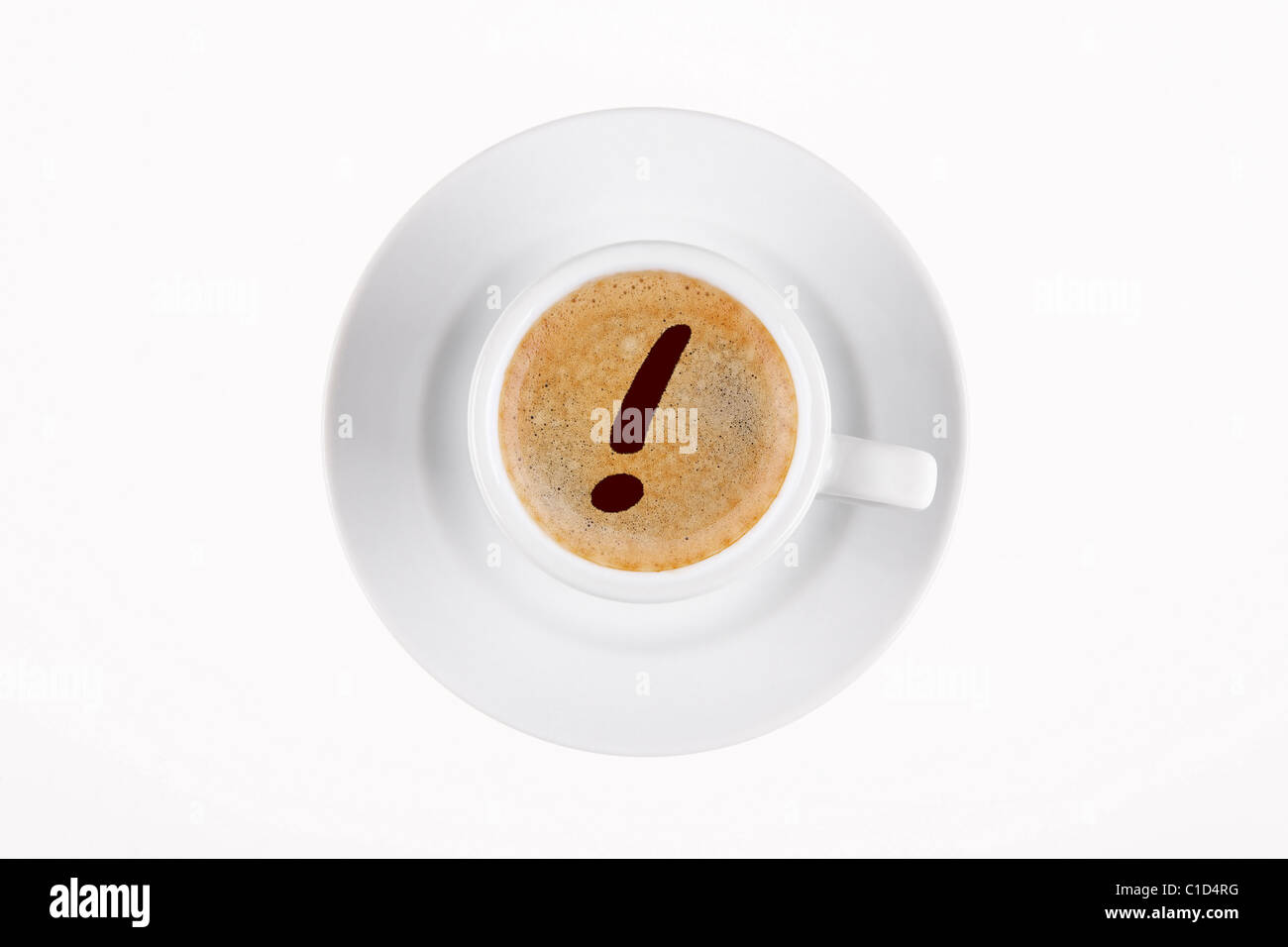 digital enhancement - clip image - exclamation point mark sign written on cafe crema coffee foam - Stock Image
