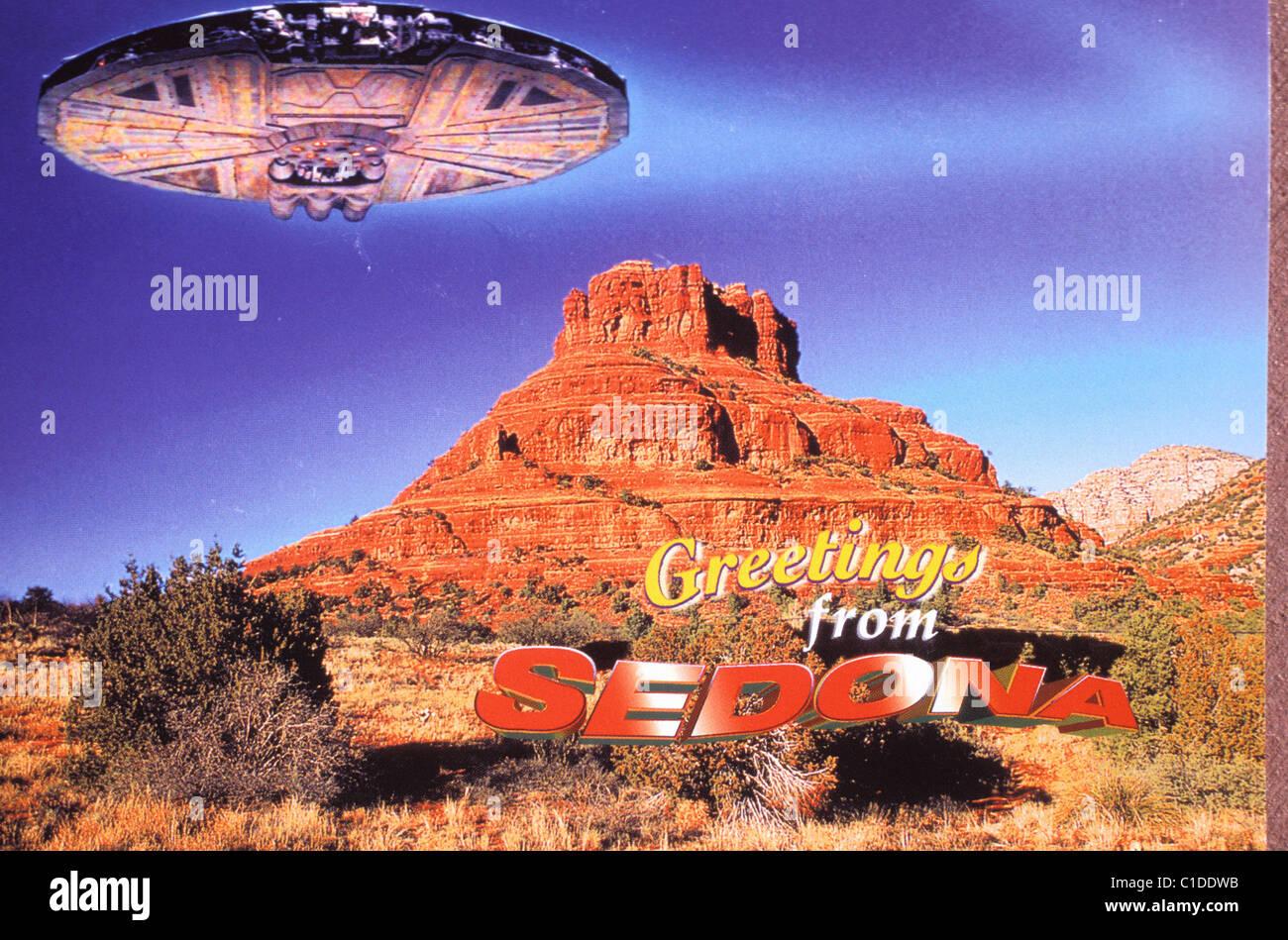 United States, Arizona, Sedona, New Age capital, UFO postcard - Stock Image