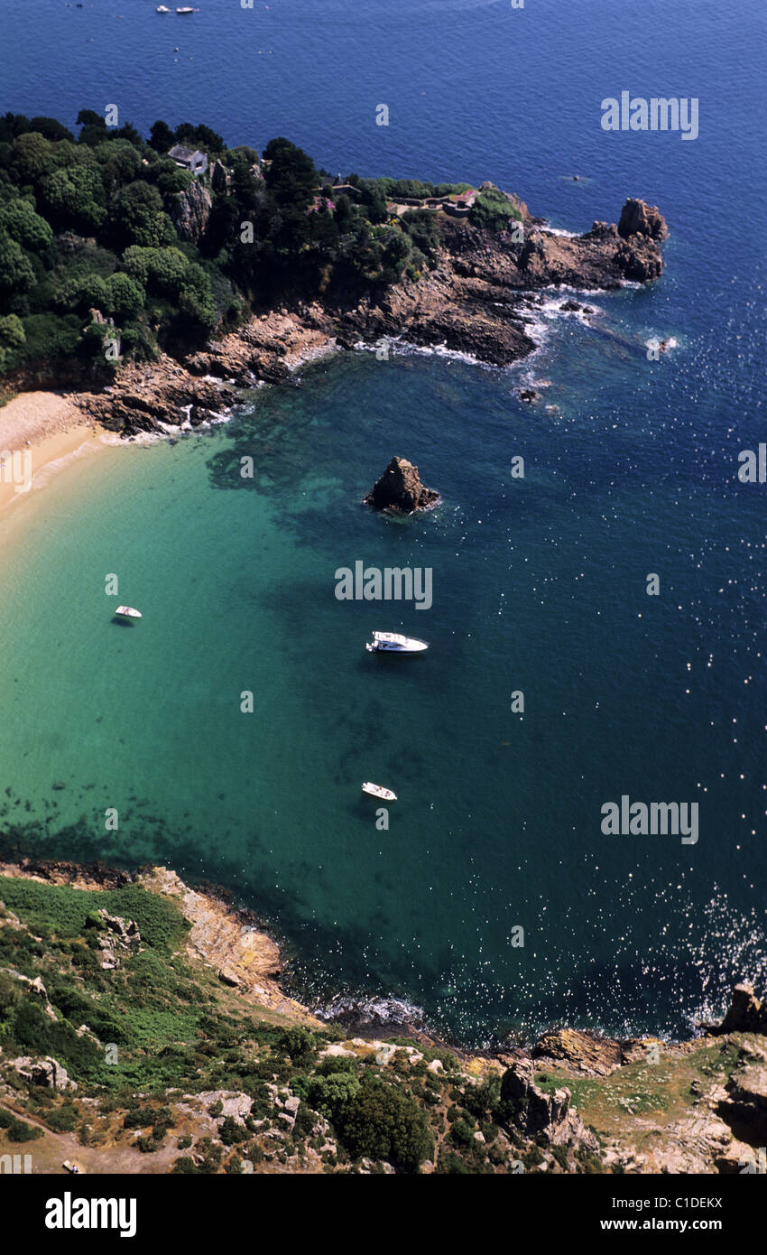 United Kingdom, Channel Islands, Jersey Island, the preserved bay of Beauport (aerial view) - Stock Image
