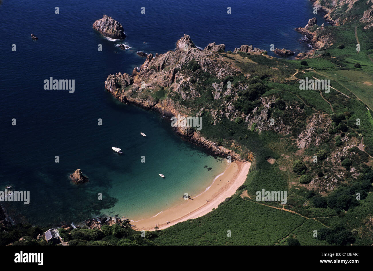 United Kingdom, Channel Islands, Jersey Island, the well preserved Beauport Bay (aerial view) - Stock Image