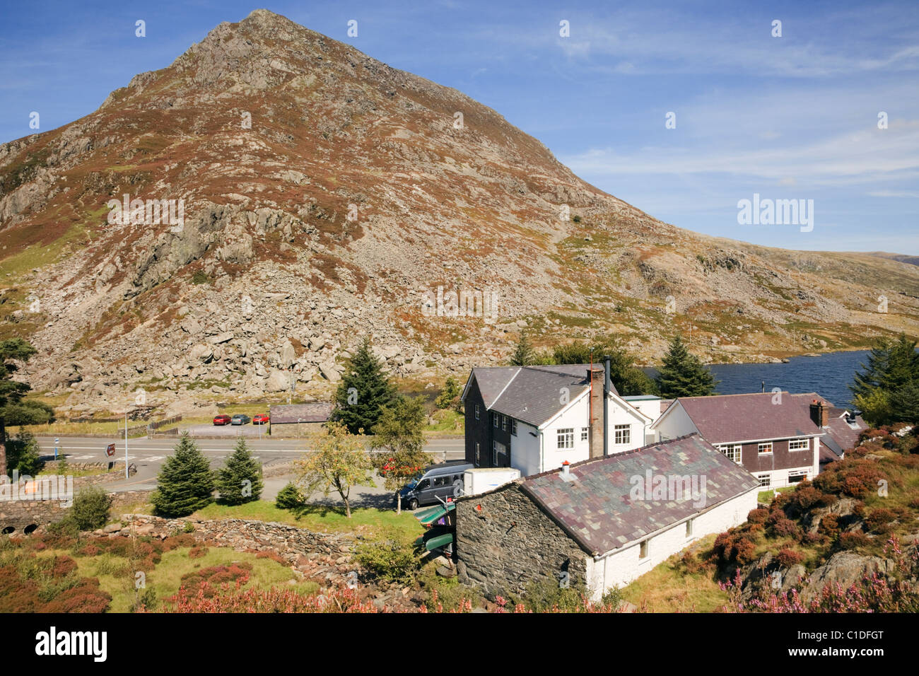 View above Ogwen Cottage outdoor pursuits centre below Pen Yr Ole Wen mountain. Ogwen Valley, Snowdonia, North Wales, - Stock Image