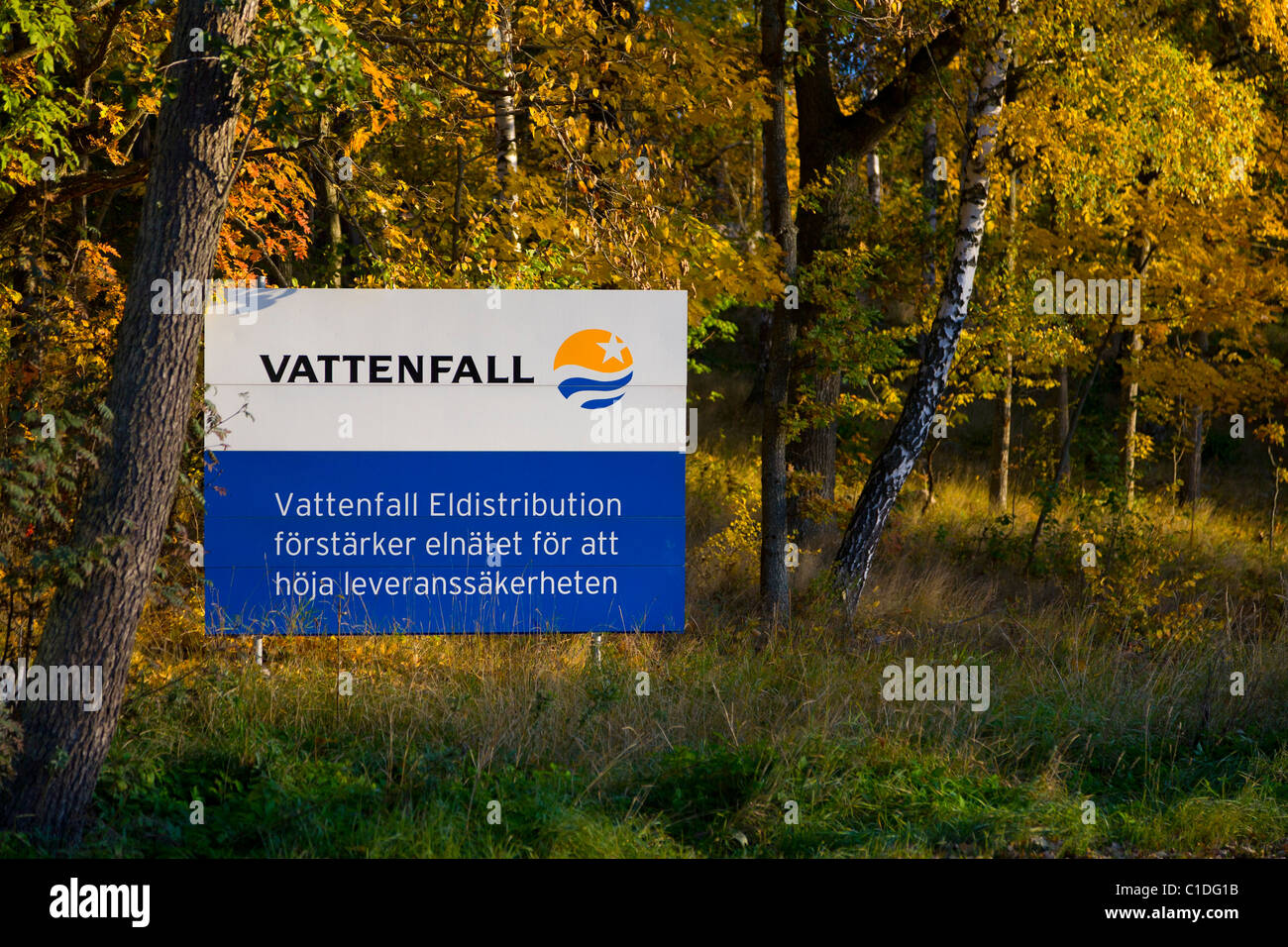 Vattenfall sign board - Stock Image