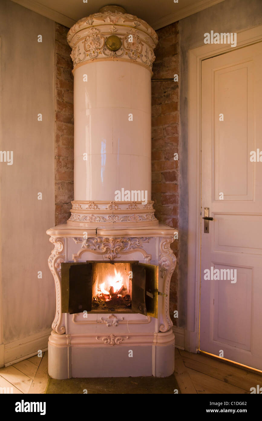 Swedish 19th century ceramic tiled stove. - Stock Image