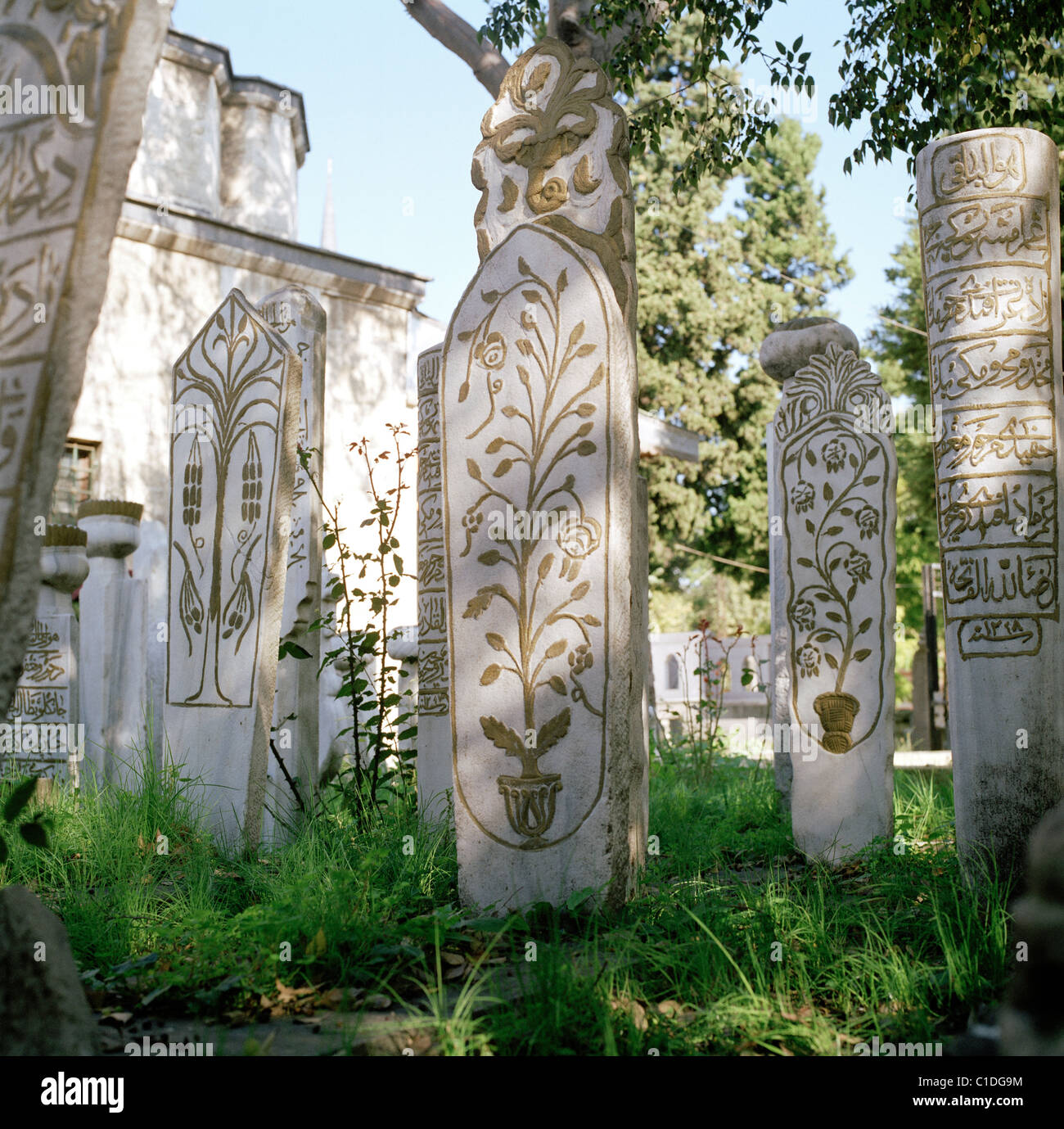Muslim Islamic cemetery at Eyup Mosque at Golden Horn in Istanbul in Turkey in Middle East Asia. Ancient History Stock Photo
