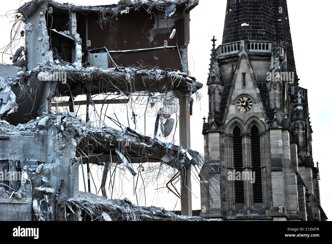 Demolition of old Building, Church in the Background, Urban Renewal - Stock Image