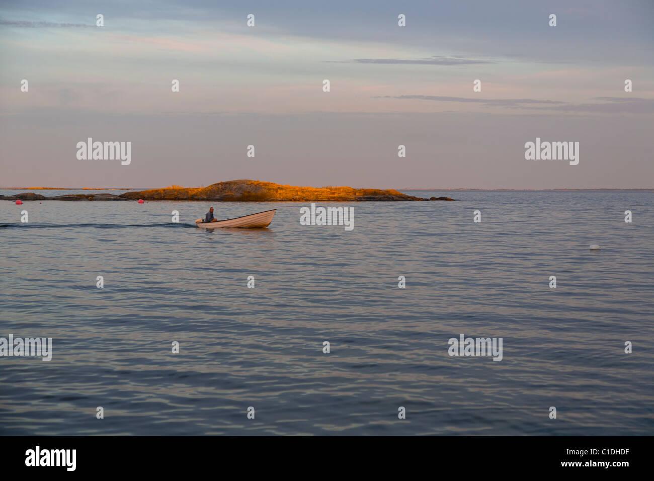Boat in the 'Archipelago of Stockholm', Sweden. - Stock Image