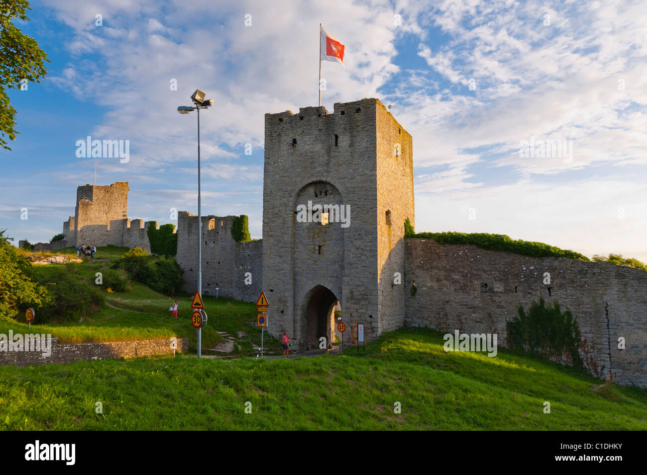 North entrance in the city wall of Unesco World Heritage town Visby, Gotland, Sweden. - Stock Image