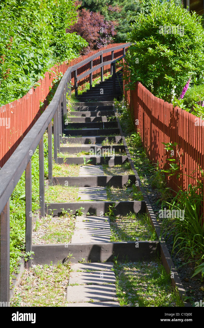 Flight of stairs going up - Stock Image