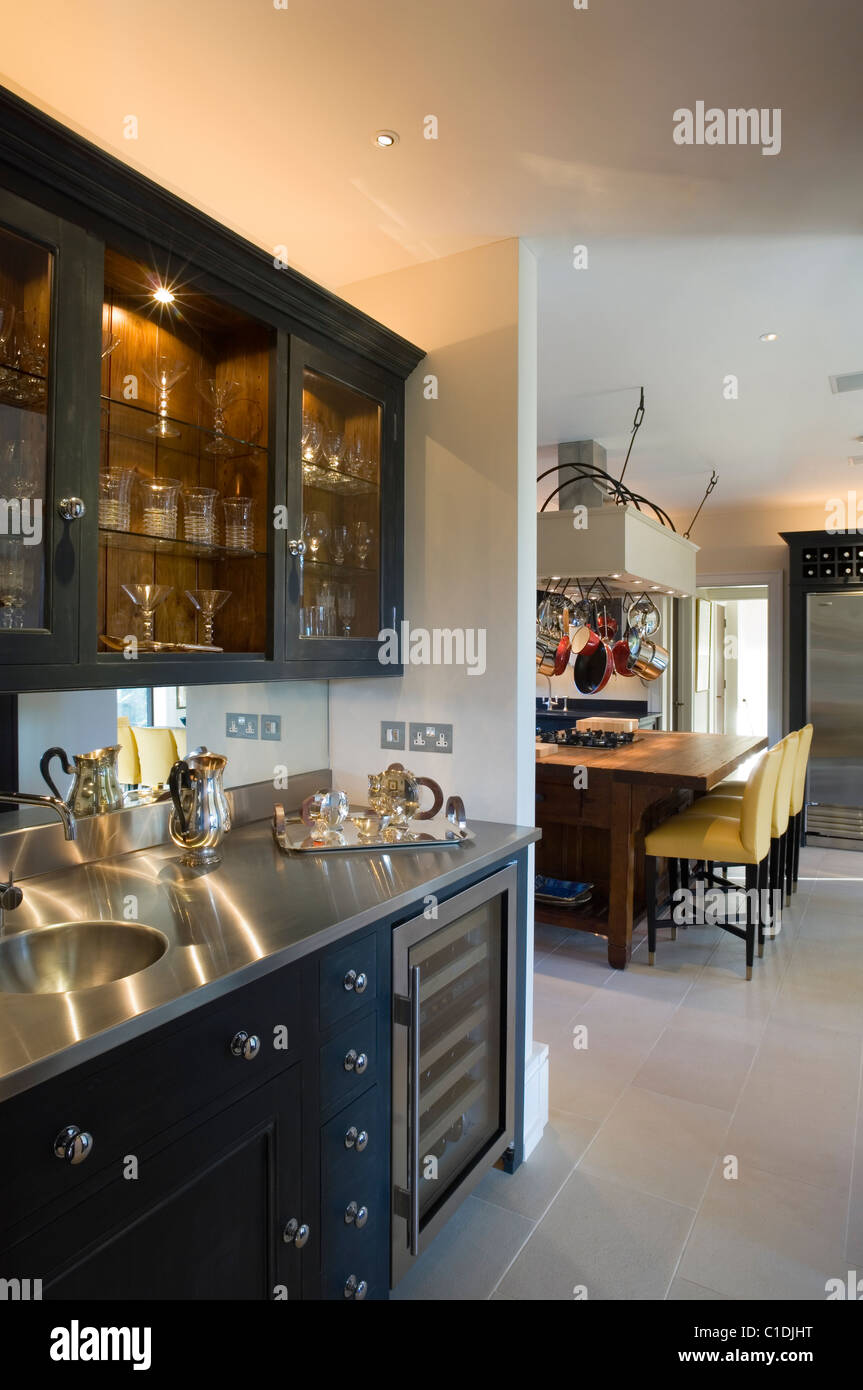 20th century Arts and Crafts style house modernised with dark Wenge timber on doors, window frames and floors. - Stock Image