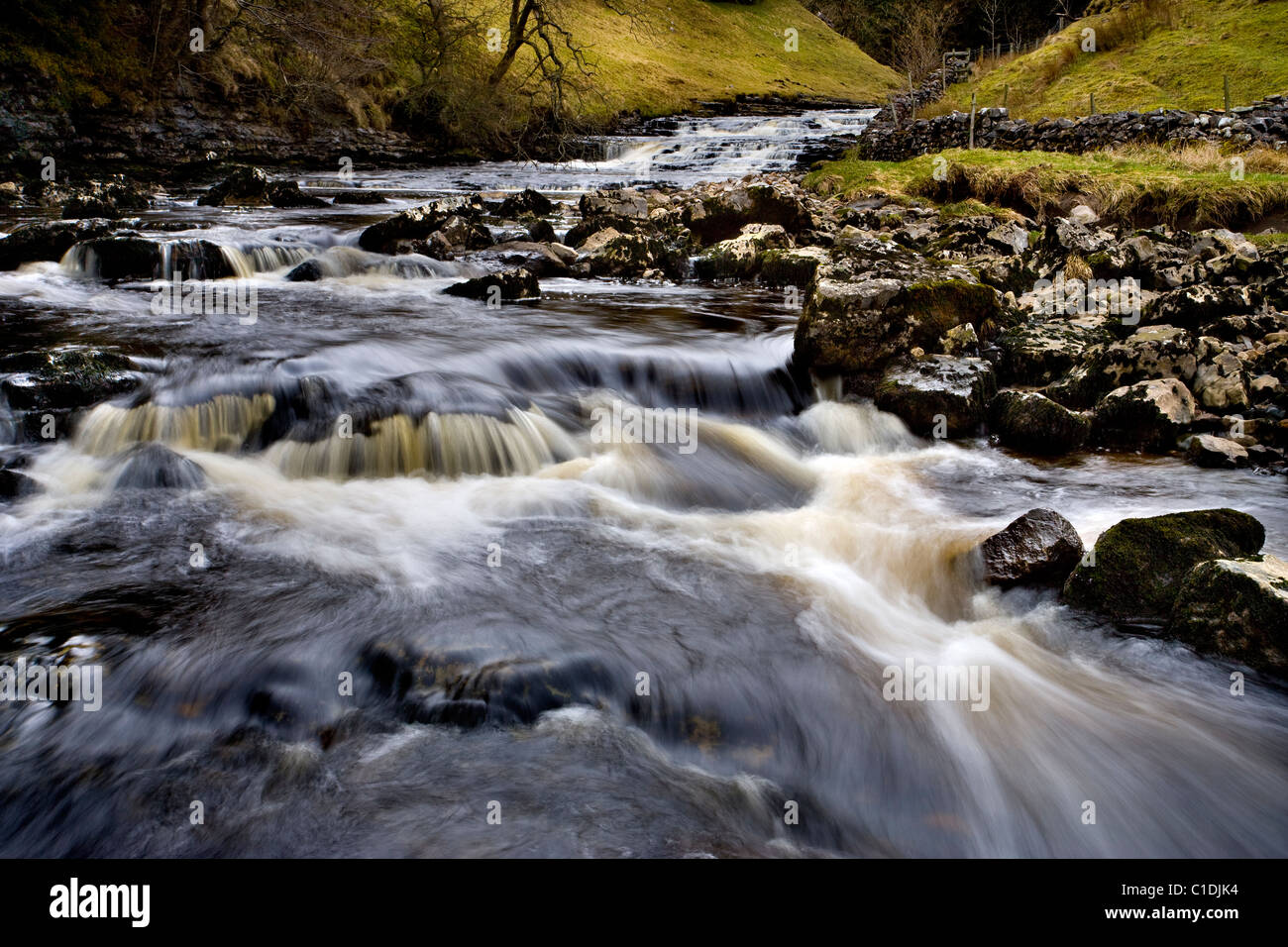 Waterfalls above Thornton Force, near Ingleton, Yorkshire Dales, England - Stock Image