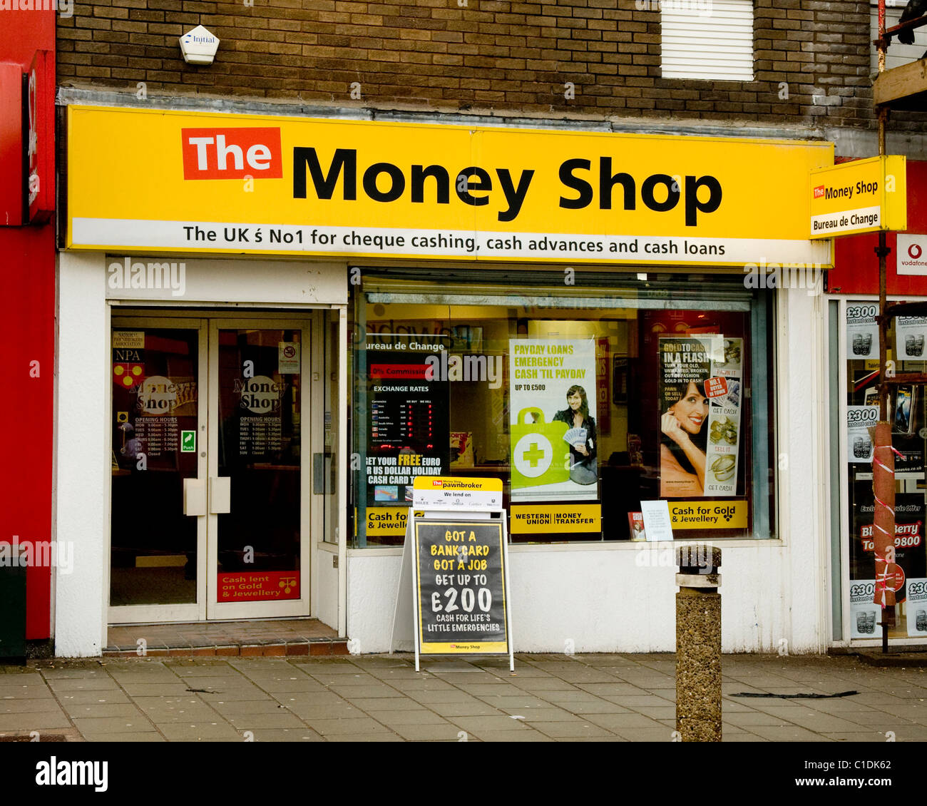 The Money Shop Greenock for  Forex, loans, cash advances and  No.1 for cheque cashing. - Stock Image