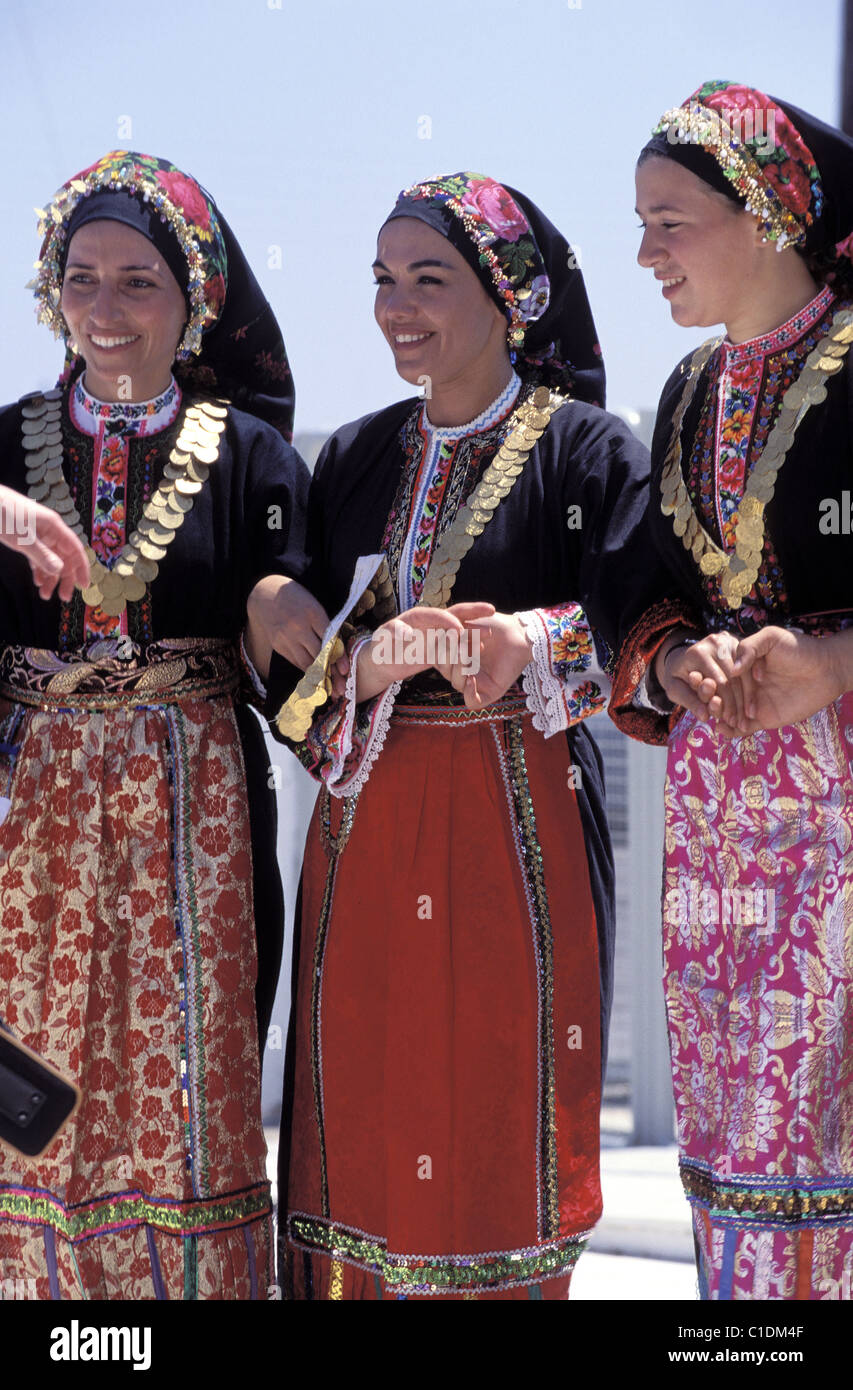 Greece, Dodecanese Islands, Island of Karpathos Traditional dances in the village of Olympos Stock Photo