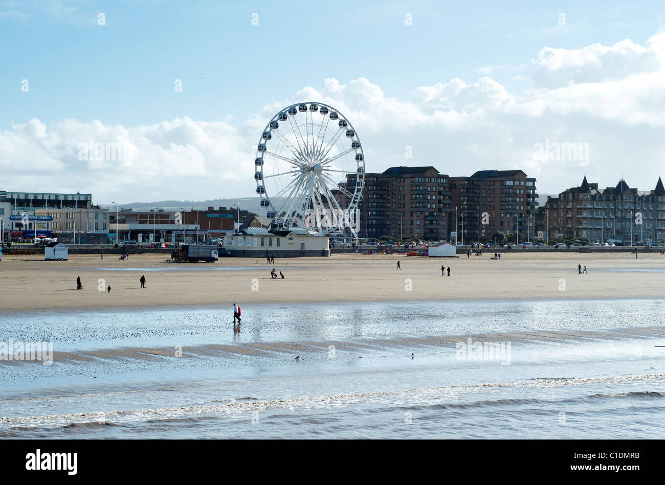 Weston Super Mare beach and wheel somerset England - Stock Image