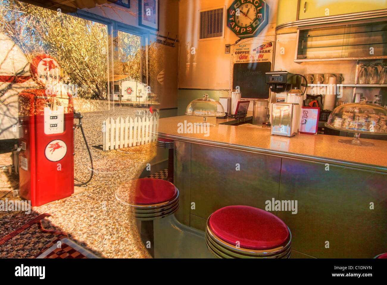 Old diner interior with exterior reflection - Stock Image