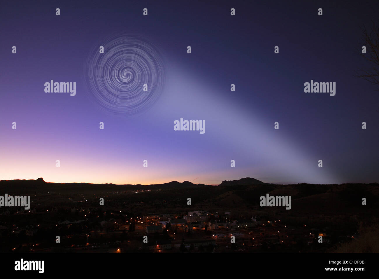 """Recreation of the """"Norway Spiral"""" UFO sighting - Stock Image"""