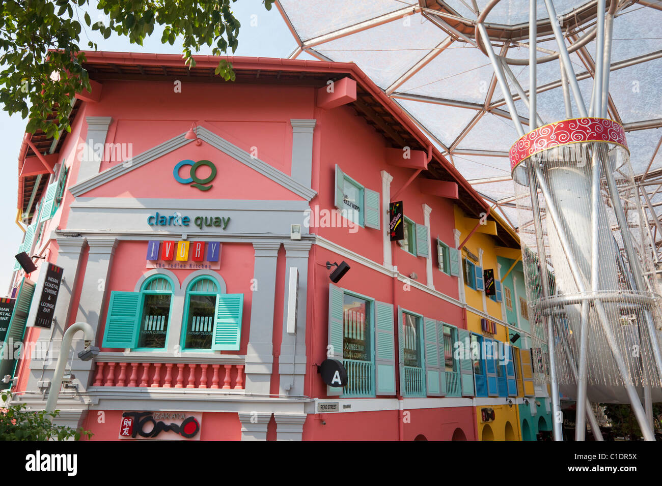 Colourful architecture of Clarke Quay, Singapore - Stock Image