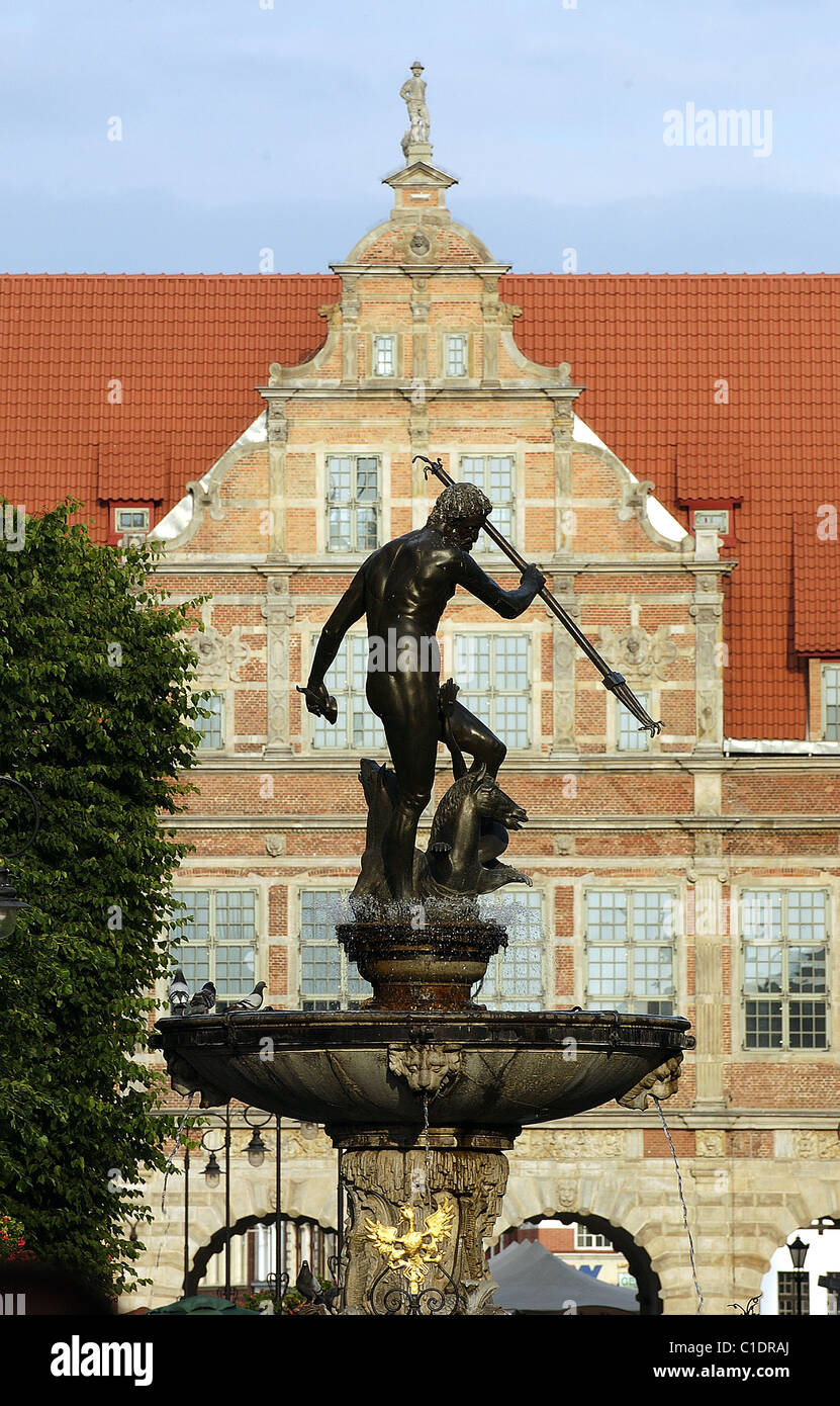 Poland Eastern Pomerania Gdansk the Neptune god (one of the symbols of the city) in front of the Green Door (Zielona - Stock Image