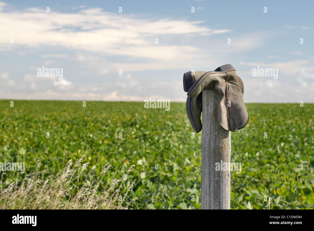 Boots on a fencepost in rural Iowa - Stock Image
