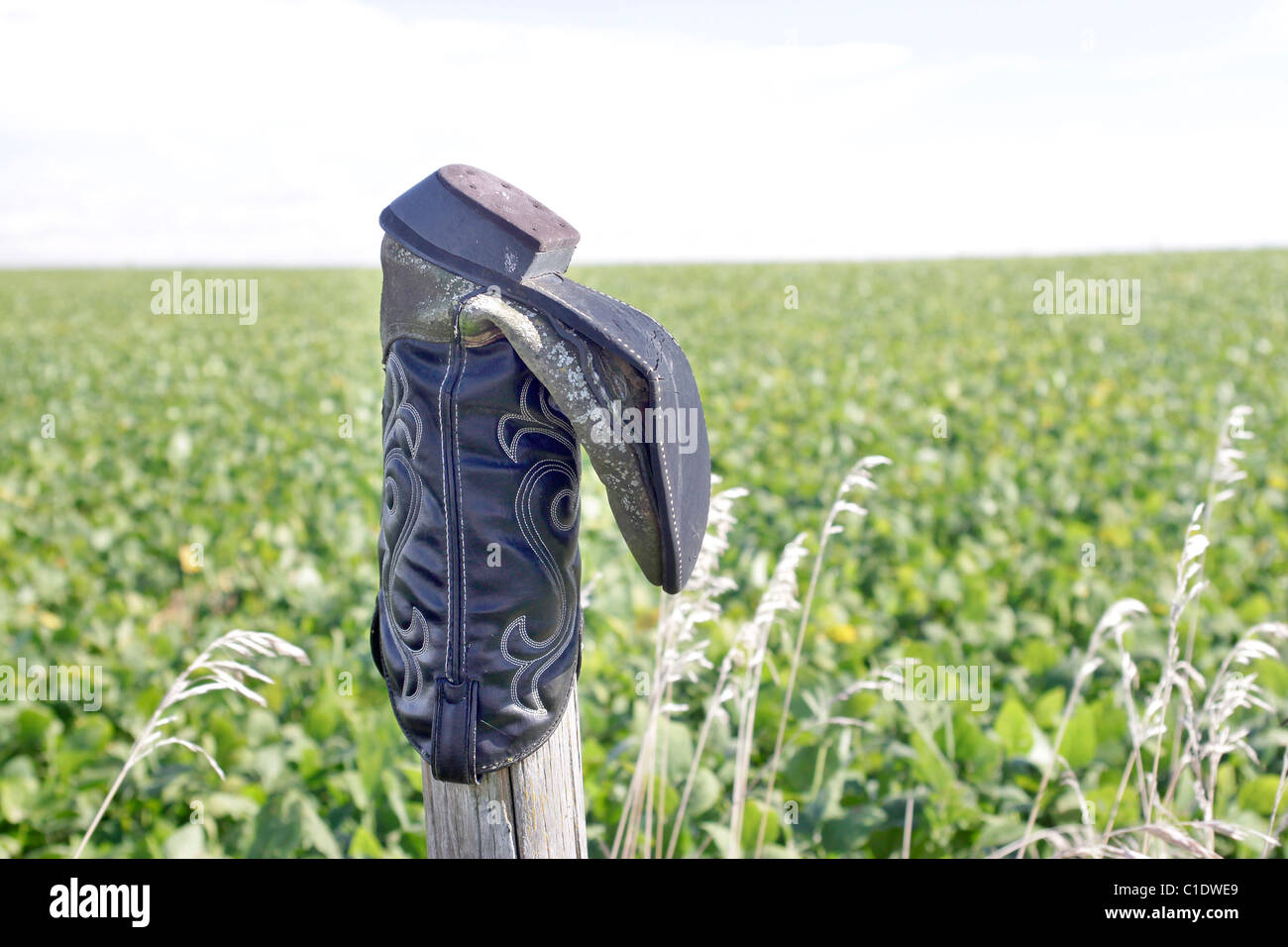 Boot on a fencepost in rural Iowa - Stock Image