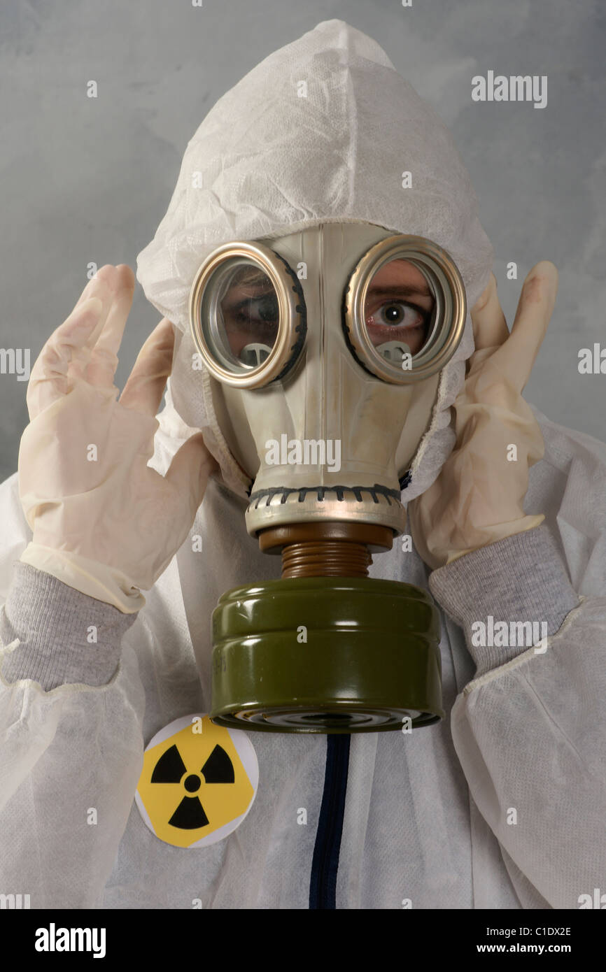 Woman in protective clothing against radioactivity - Stock Image