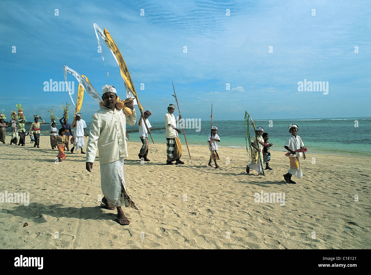 Indonesia, Bali, Purification ceremony at Nusa Dua Beach - Stock Image