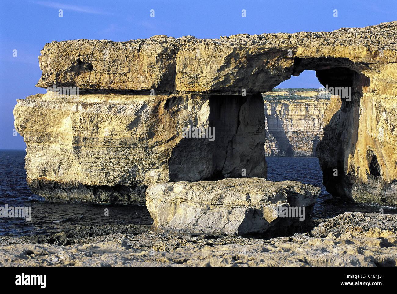 Malta, Gozo Island, natural arch into a cliff Stock Photo